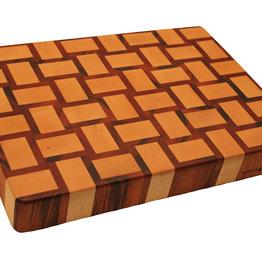 kopshouten snijplank met gewoven patroon van Amerikaans esdoorn en tijgerhout