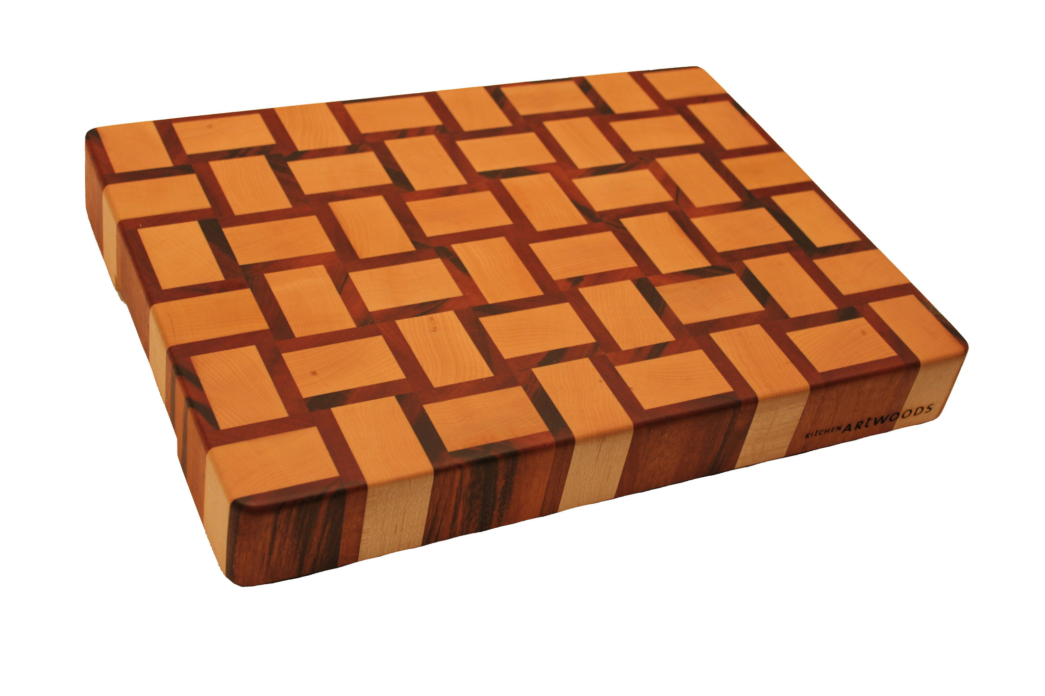 end grain cuttingboard with a woven patern of hard maple and tigerwood