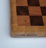 Kopshouten snijplank van gestoomd beuken, zebrano en haagbeuk, hoekblokjes van gestoomd beuken