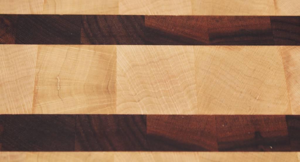 Kopshouten snijplank van haagbeuk met strepen Amerikaans walnoot