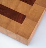 Kopshouten snijplank van haagbeuk met stroken kers
