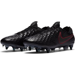 NIKE TIEMPO LEGEND 8 ELITE SG-PRO ANTI-CLOG TRACTION BLACK/DK SMOKE GREY-CHILE RED