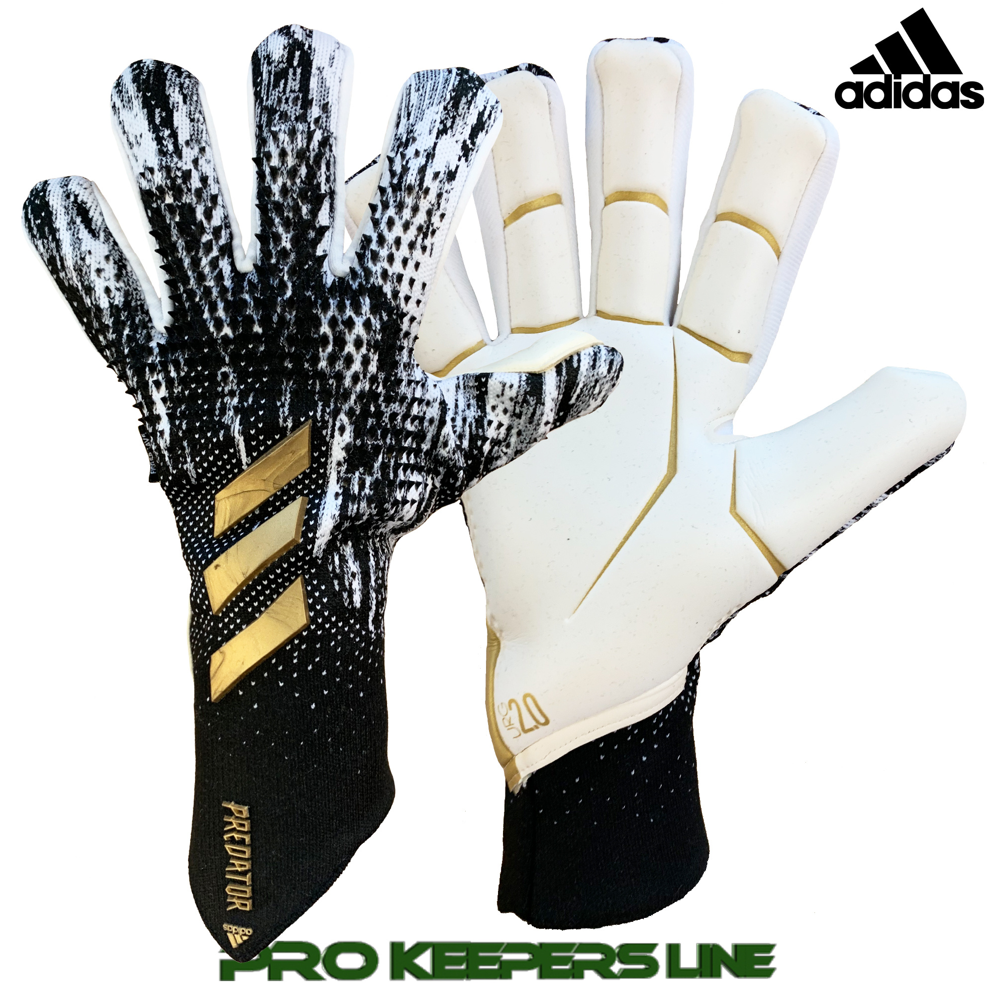 hazlo plano caos la carretera  ADIDAS PREDATOR GL PRO FINGERSAVE CORE BLACK/ CLOUD WHITE/ GOLD METALLIC  (FINGERPROTECTION) - Pro Keepers Line