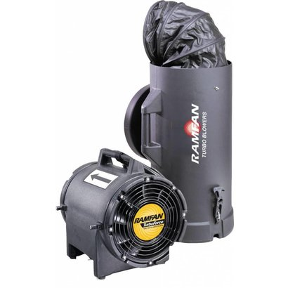 RamFan UB20xx with Quick-couple canister anti-static with a 4,6 meter duct