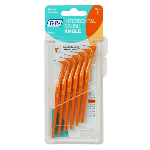 TePe TePe Angle™ Ragers l Oranje - Maat 1 | 0,45mm | 6 stuks