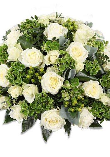 Rouwbiedermeier met witte  rozen