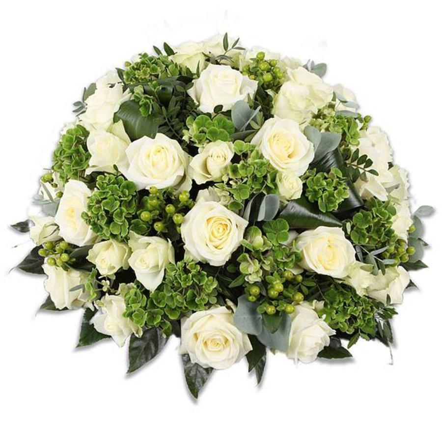 Rouwbiedermeier met witte  rozen-1