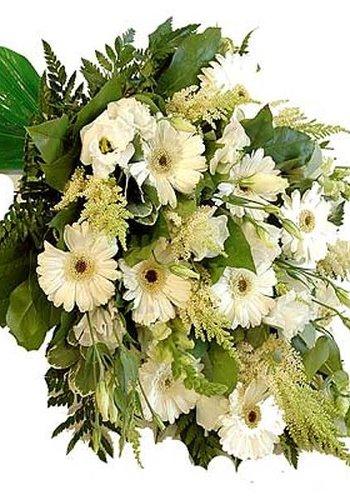 Abelia Meesterbinders Mooi eenzijdig gebonden rouwboeket van witte bloemen.