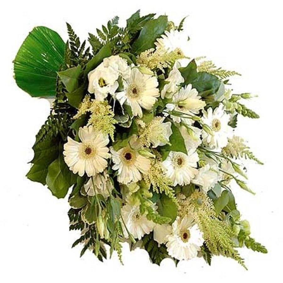 Mooi eenzijdig gebonden rouwboeket van witte bloemen.-1