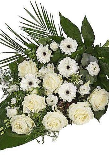 Abelia Meesterbinders Wit eenzijdig gebonden rouwboeket