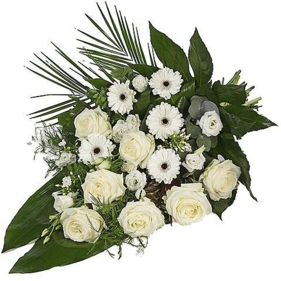 Wit eenzijdig gebonden rouwboeket