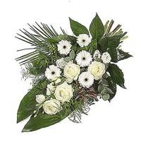 thumb-Wit eenzijdig gebonden rouwboeket-2