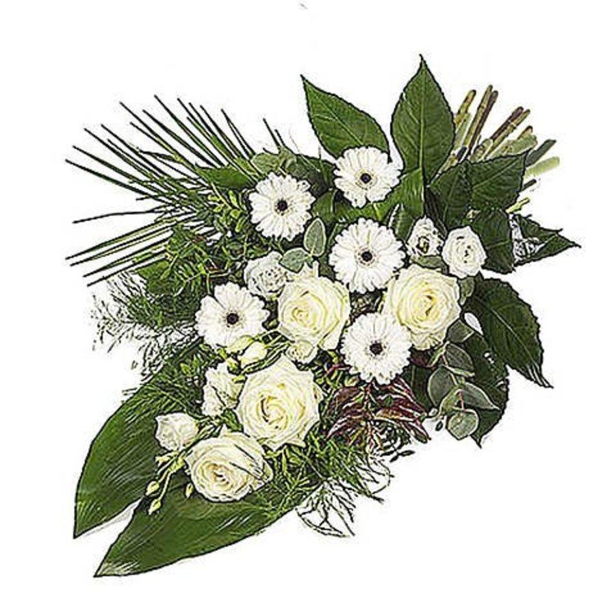Wit eenzijdig gebonden rouwboeket-2