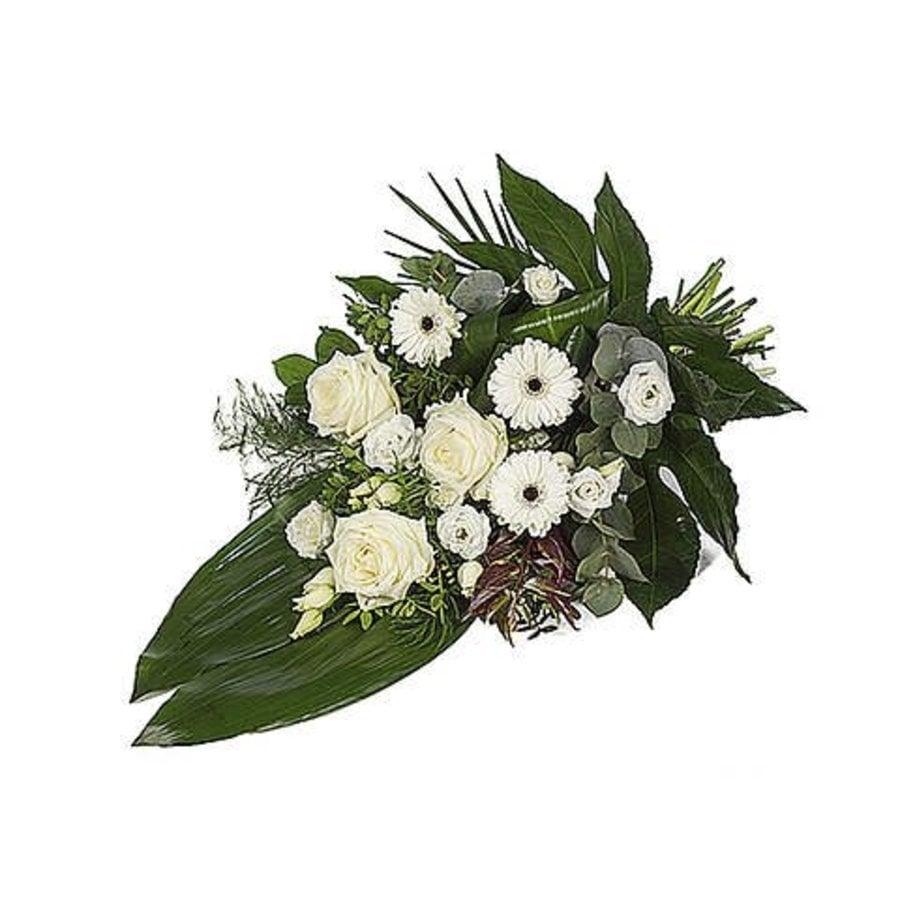 Wit eenzijdig gebonden rouwboeket-3