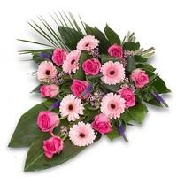 thumb-Roze gebonden rouwboeket-2