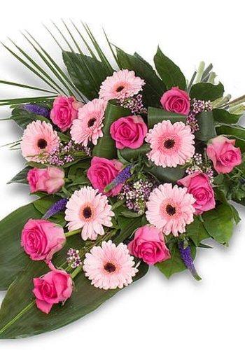 Roze gebonden rouwboeket
