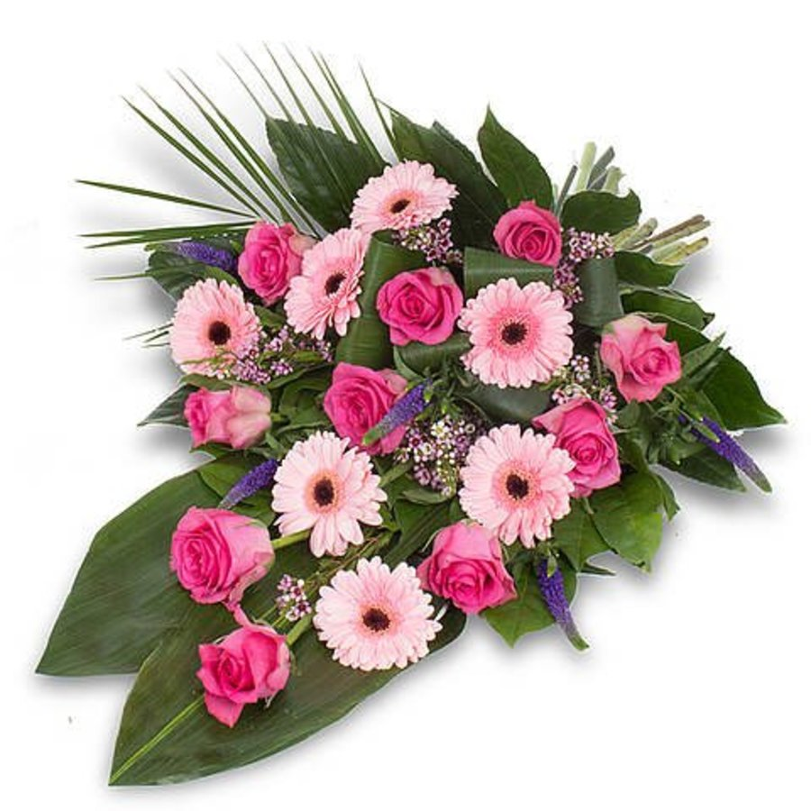 Roze gebonden rouwboeket-2