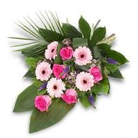 thumb-Roze gebonden rouwboeket-1