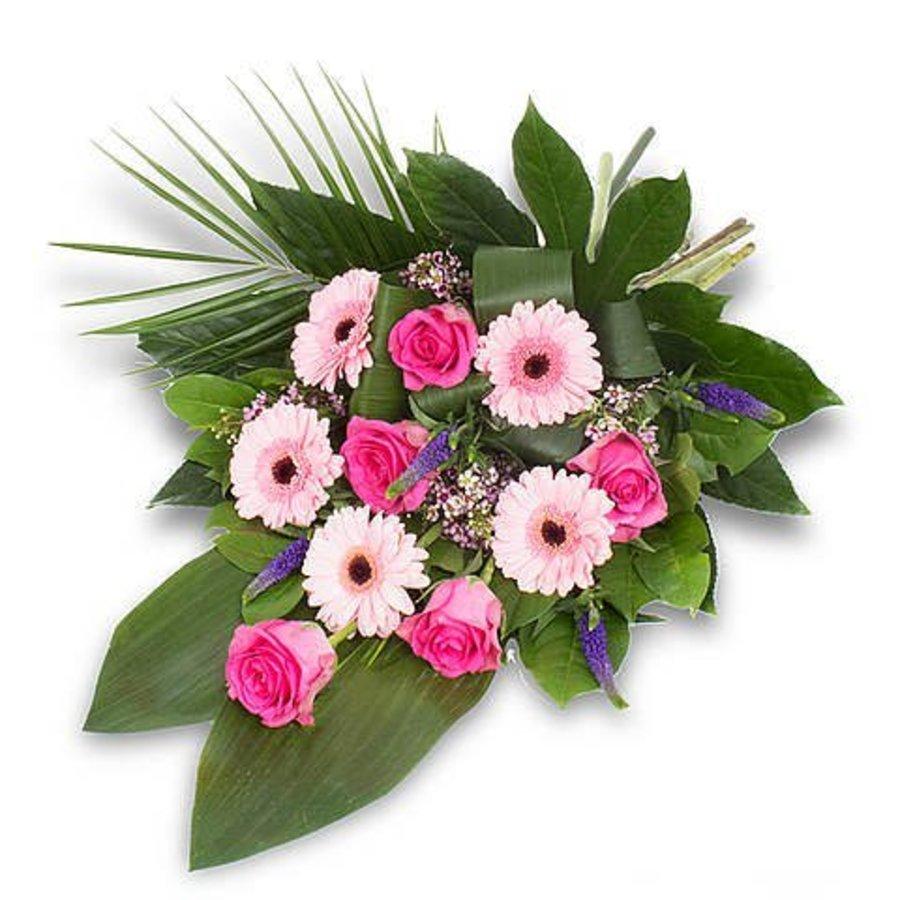 Roze gebonden rouwboeket-1