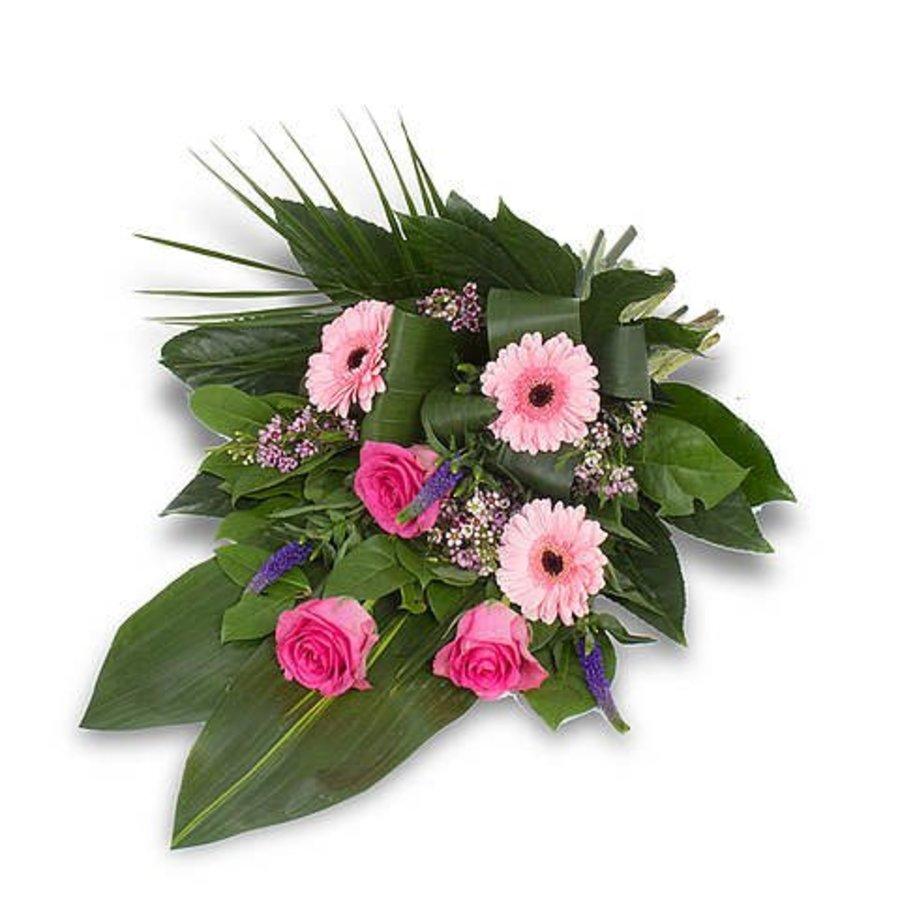 Roze gebonden rouwboeket-3