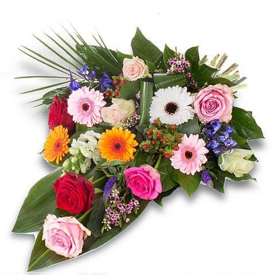 Kleurrijk gebonden rouwboeket-4