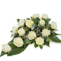 thumb-Witte rozen rouwbloemstuk W4-3