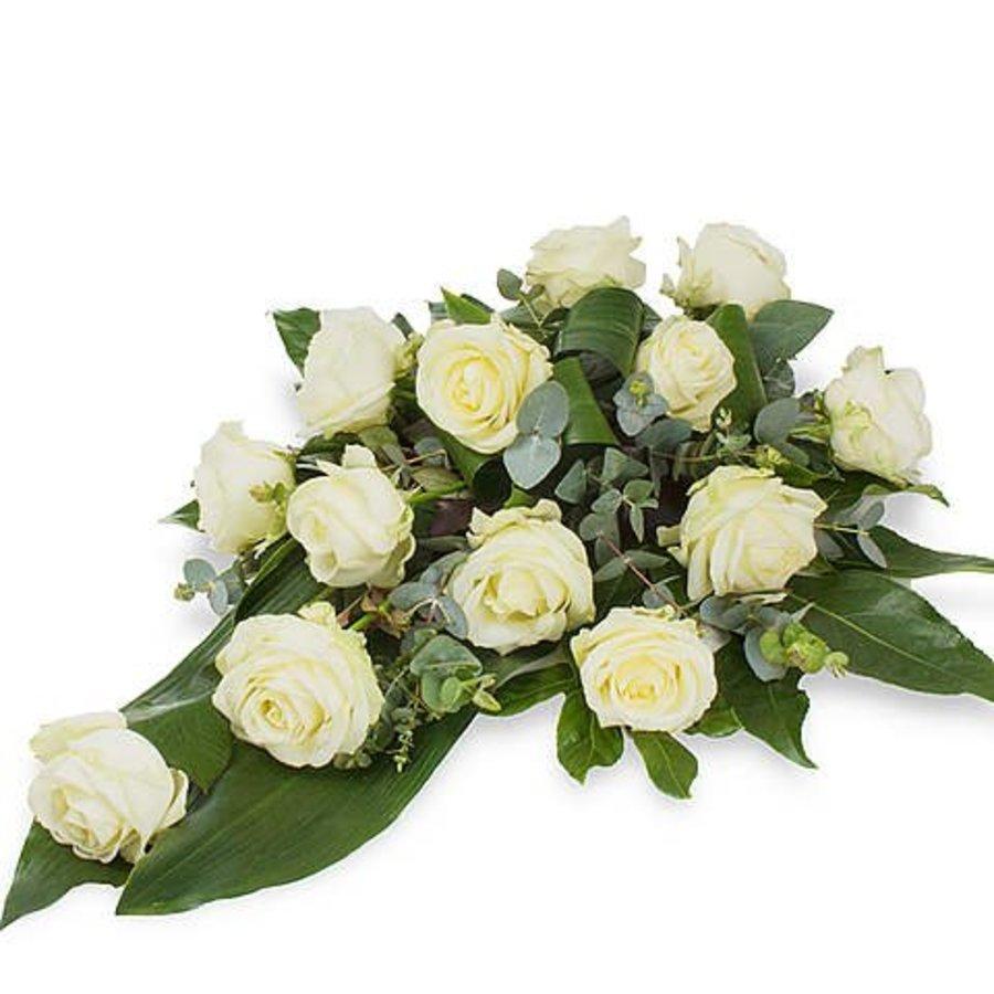 Witte rozen rouwbloemstuk W4-3