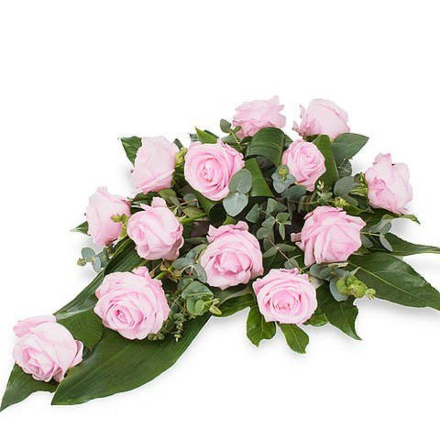 Roze rozen rouwboeket-3