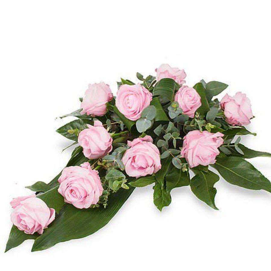 Roze rozen rouwboeket-2