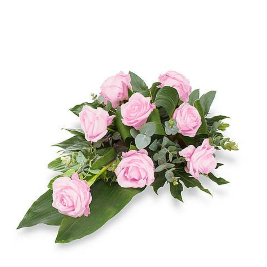 Roze rozen rouwboeket-1