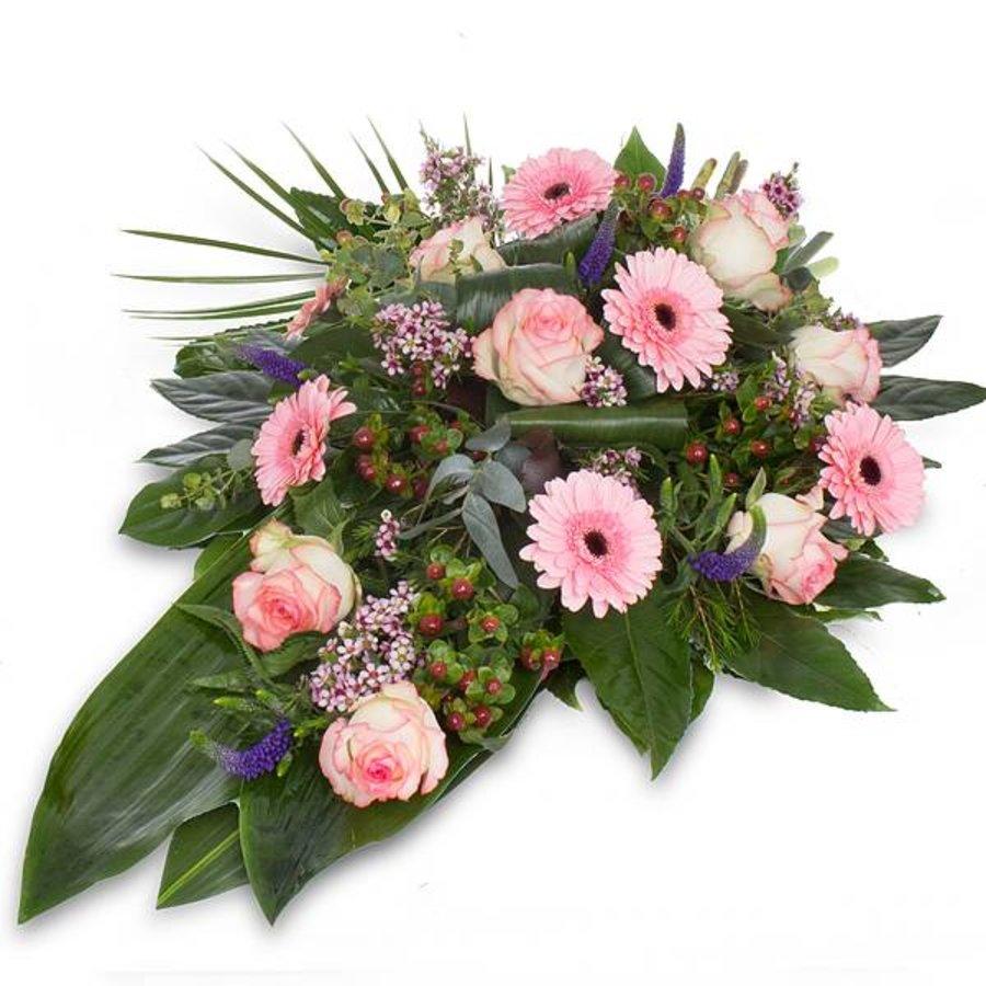 Divers roze rouwboeket-1