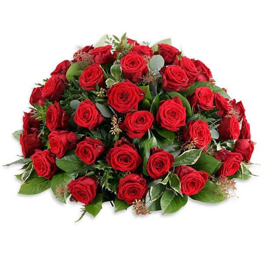 Rouwboeket met rode roze-1
