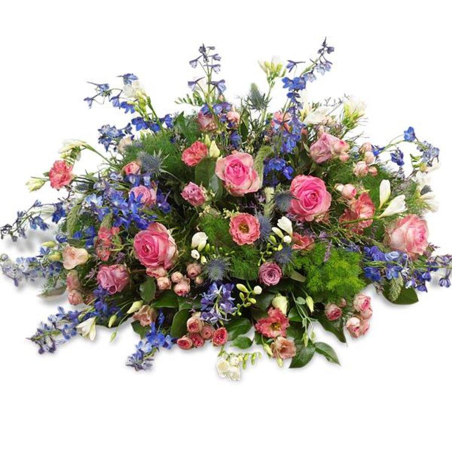 Rouwboeket met roze en blauwe bloemen-1