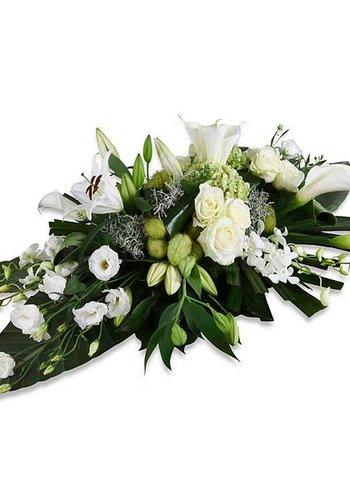 Wit elegance rouwboeket