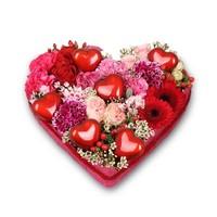 Rood hart vorm rouwstuk