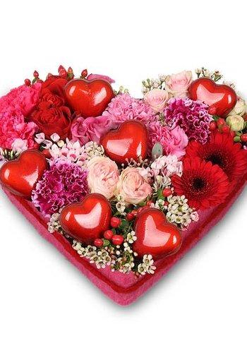 Abelia Meesterbinders Rood hart vorm rouwstuk
