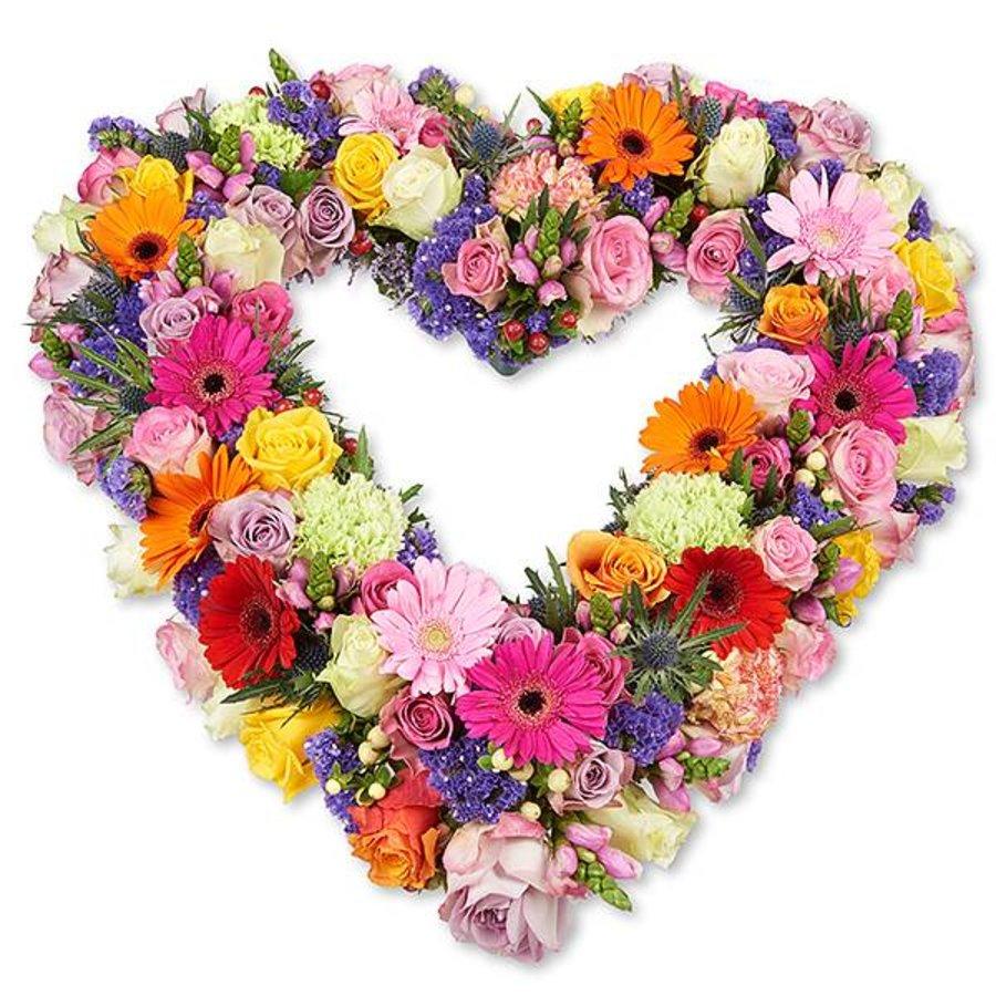 Kleurrijk open hart vorm rouwboeket-1