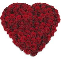Rood hart vorm rouwboeket
