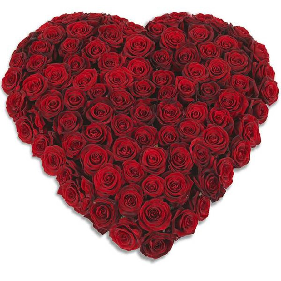 Rood hart vorm rouwboeket-1