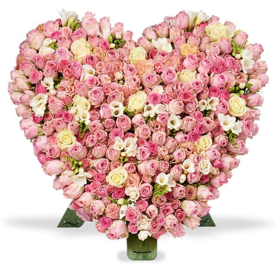 Roze en witte rozen standaard hart-1
