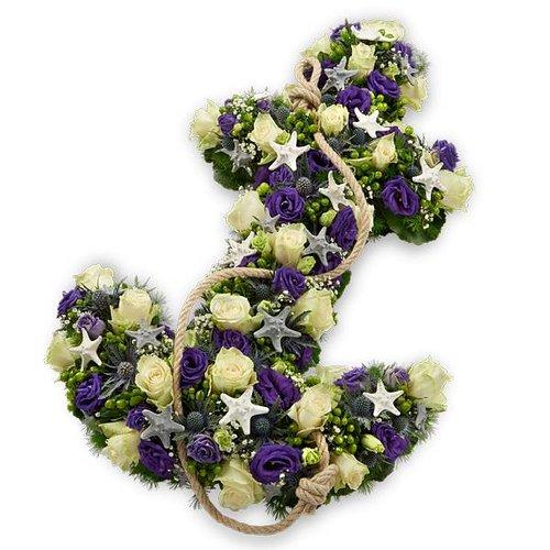 Wit paars anker rouwstuk