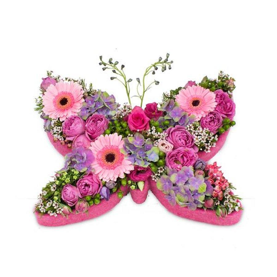 Roze vlinder vorm
