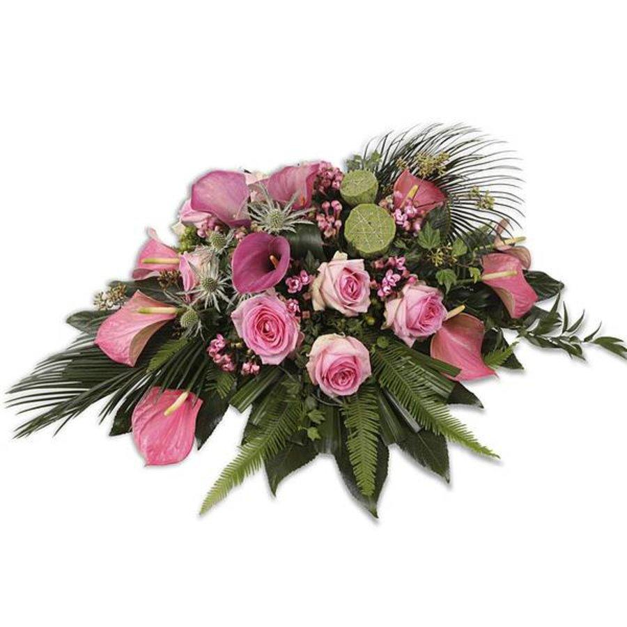 Roze groen rouwboeket