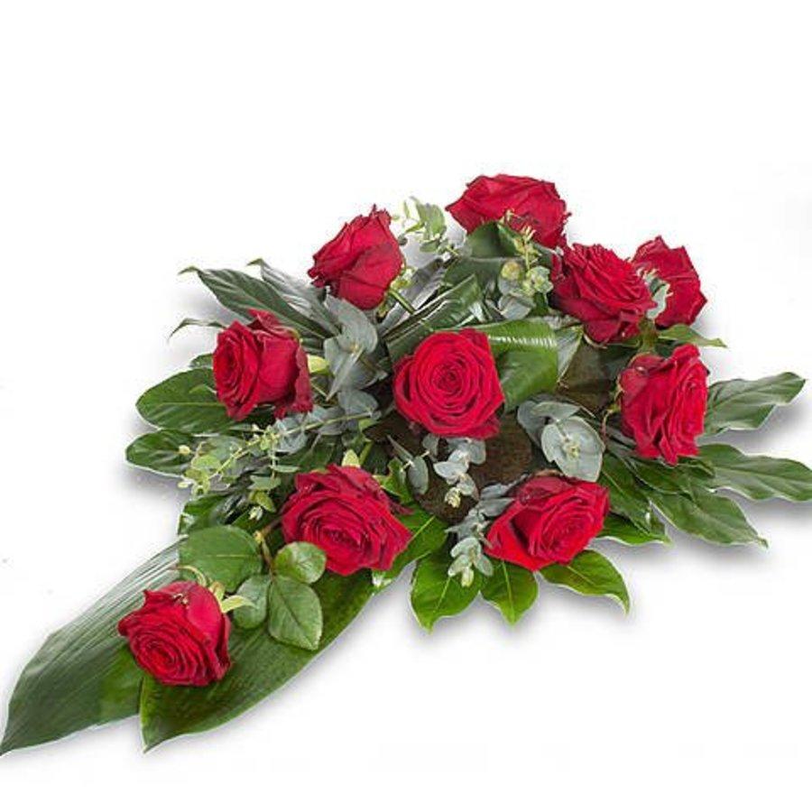 Rode rozen rouwboeket-1