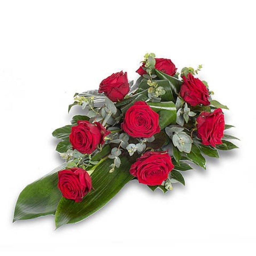 Rode rozen rouwboeket-3