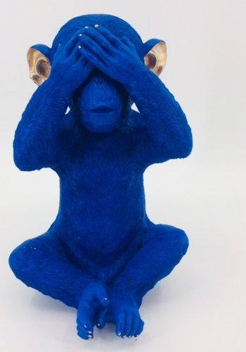 Abelia.nl Decoratie Spaarpot Monkey Mizaru Blue