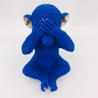 thumb-Spaarpot Monkey Mizaru Blue-2