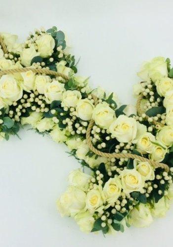 Abelia Meesterbinders Wit anker  recht  gestoken afscheidsbloemen