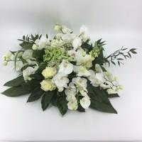 thumb-Wit groen rouwbloemstuk met Orchideeën W3-3