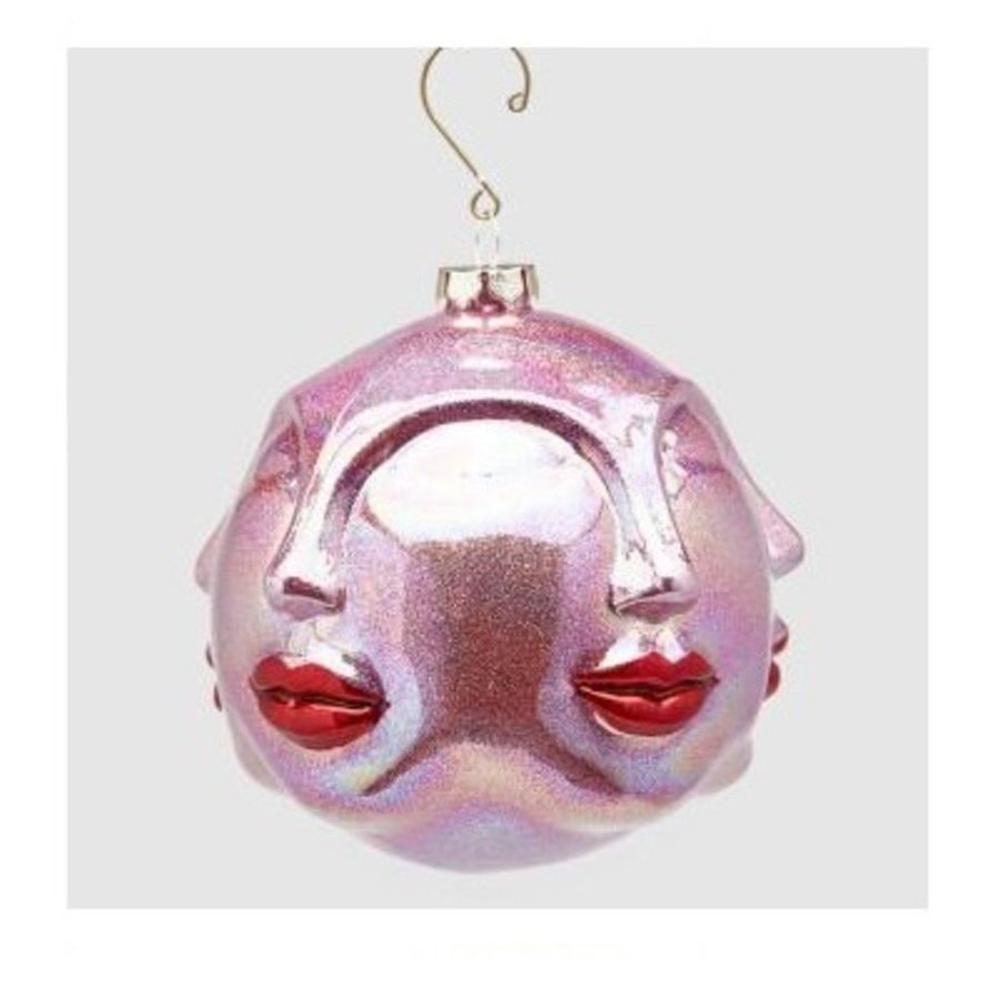 Palla Kus glas Kersthanger Rood Roze-1